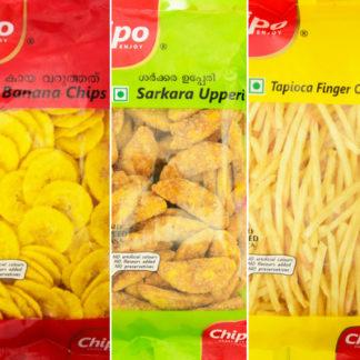 banana chips sharkara varatti and tapioca finger chips